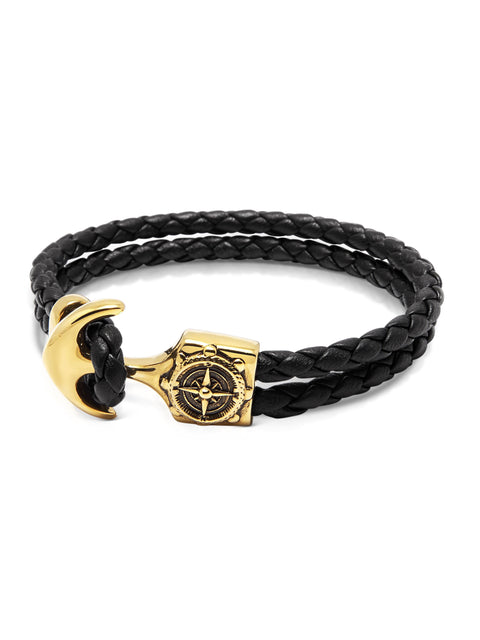 Men's Black Leather Bracelet with Gold Compass Anchor - NIALAYA INC