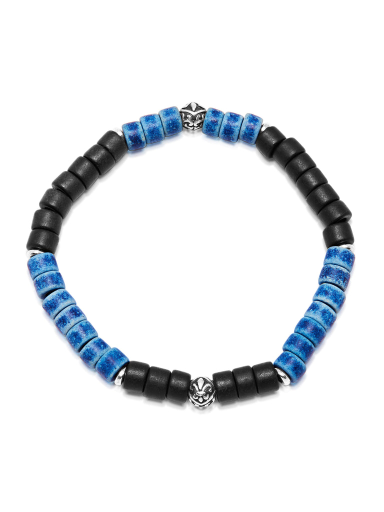 Men's Wristband with Black and Blue Tulum Beads