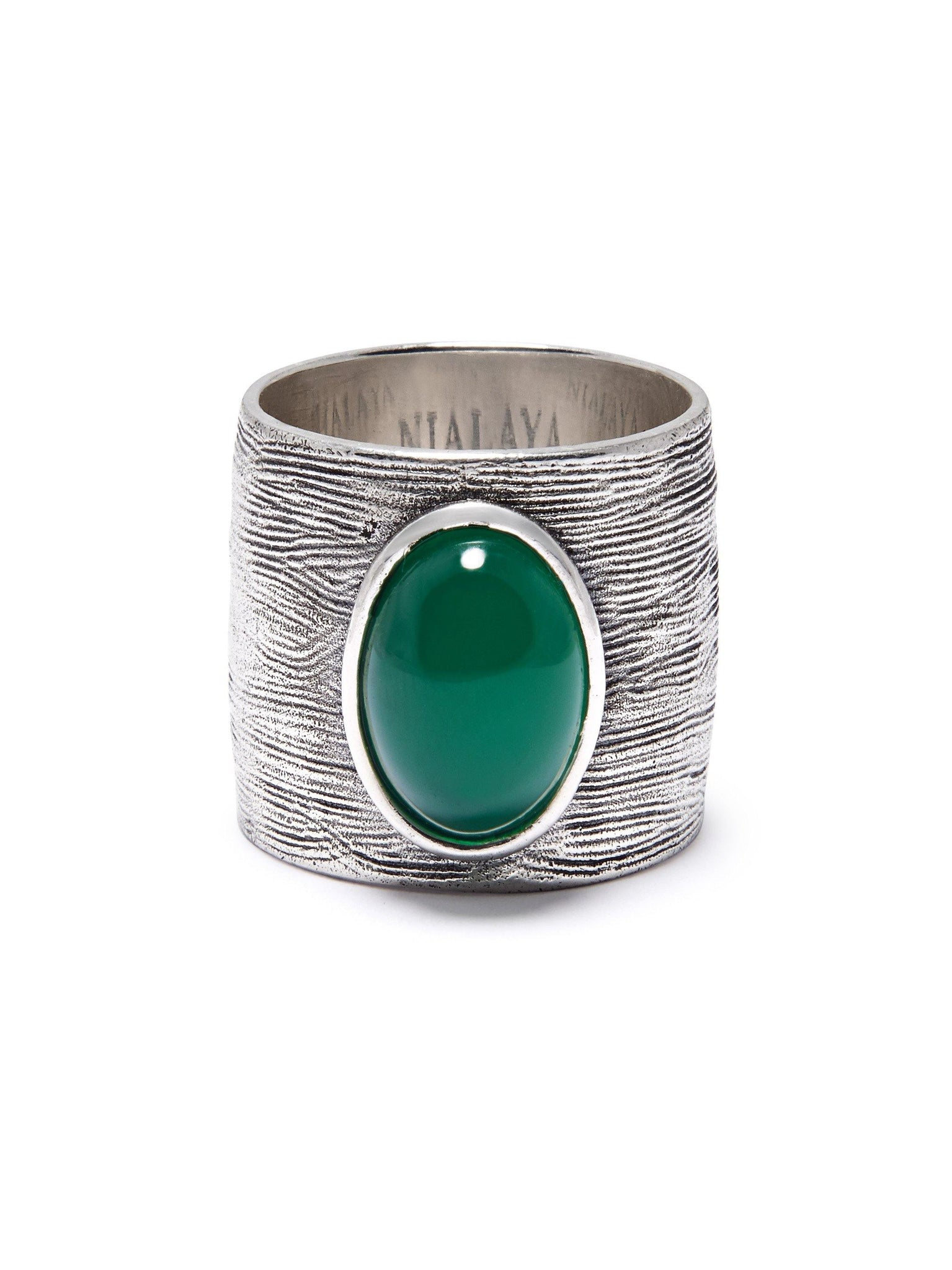NIALAYA X JOHNNY EDLIND: Men's Carved Sterling Silver Ring with Green Stone - Nialaya Jewelry