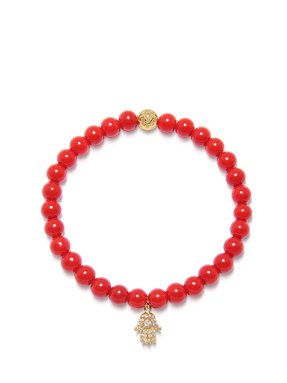 Women's Wristband with Red Vintage Trifocal Bead and Gold Hamsa Hand Charm