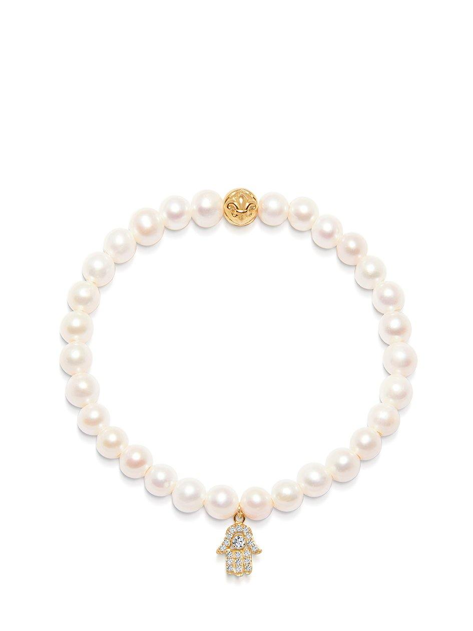 Women's Wristband with White Pearls and Gold Hamsa Hand Charm