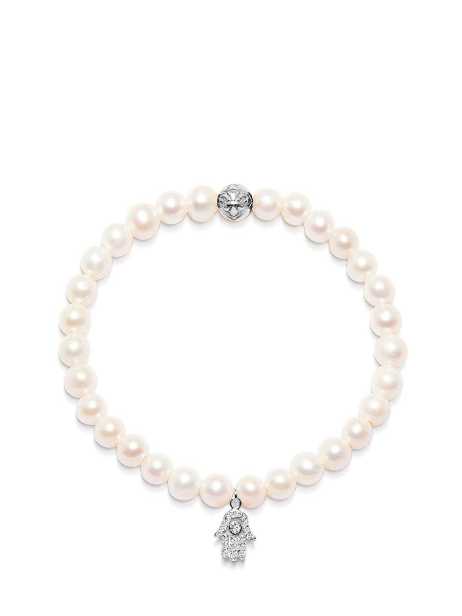 Women's Wristband with White Pearls and Silver Hamsa Hand Charm