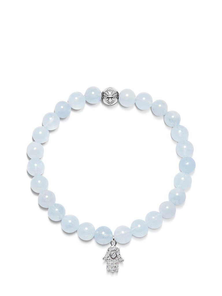 Women's Wristband with Aquamarine and Silver Hamsa Hand Charm
