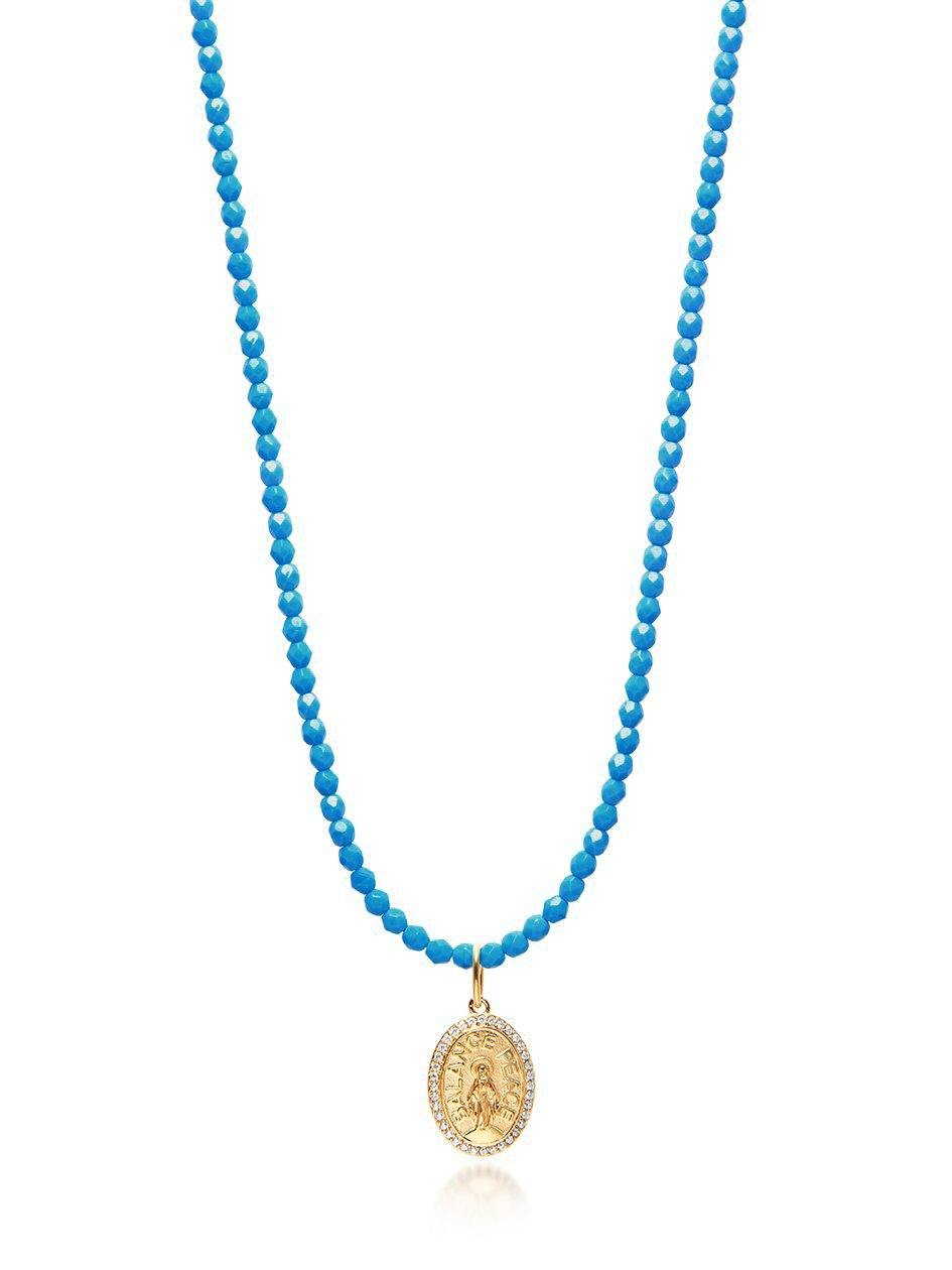 Turquoise Necklace with Gold Jesus Pendant