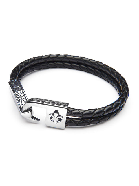 Men's Braided Black Leather Bracelet with Silver Fleur De Lis Lock