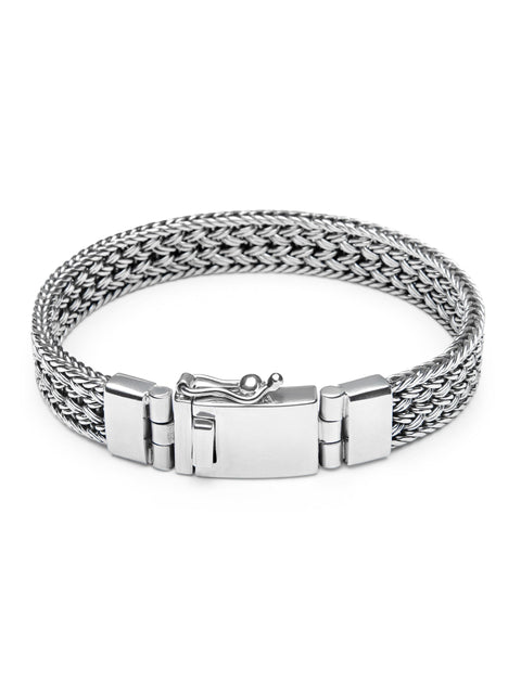 Men's Silver Braided Chain Bracelet