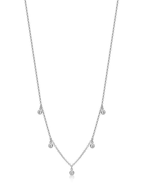 Skyfall Drop Necklace Silver - Nialaya Jewelry