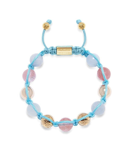 Women's Beaded Bracelet with Aquamarine, Cherry Quartz and Gold