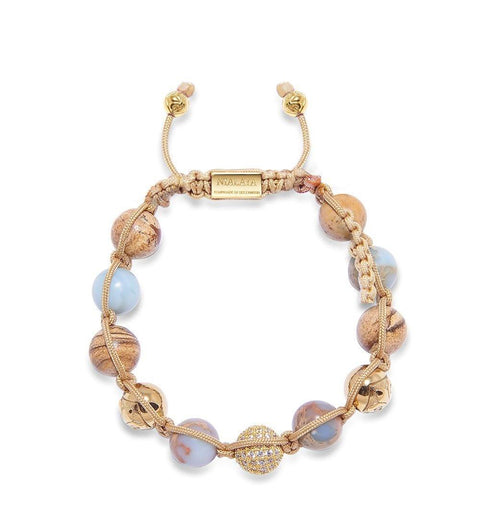 Women's Beaded Bracelet with Opal, Jasper and Gold