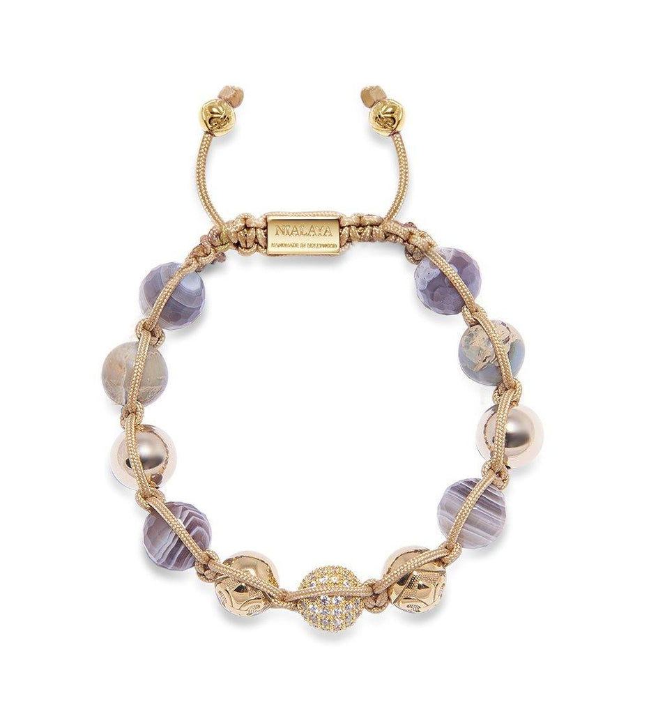 Women's Beaded Bracelet with Botswana Agate and Gold