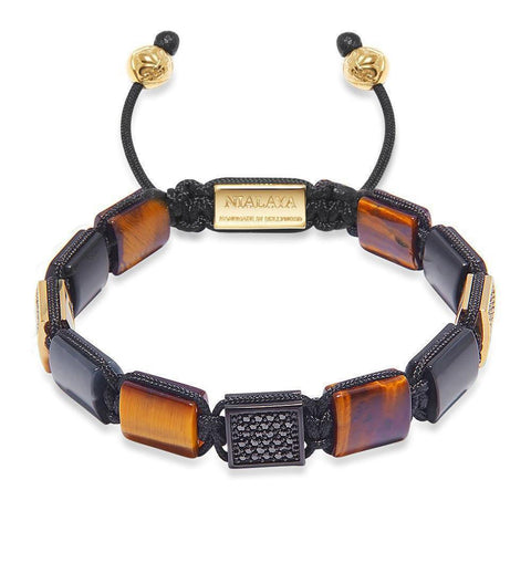 Women's CZ Flatbead Bracelet with Brown Tiger Eye and Matte Onyx