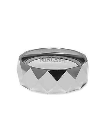 Men's Faceted Silver Band Ring