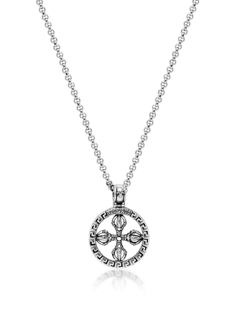 Men's Necklace with Silver Dorje Amulet - Nialaya Jewelry