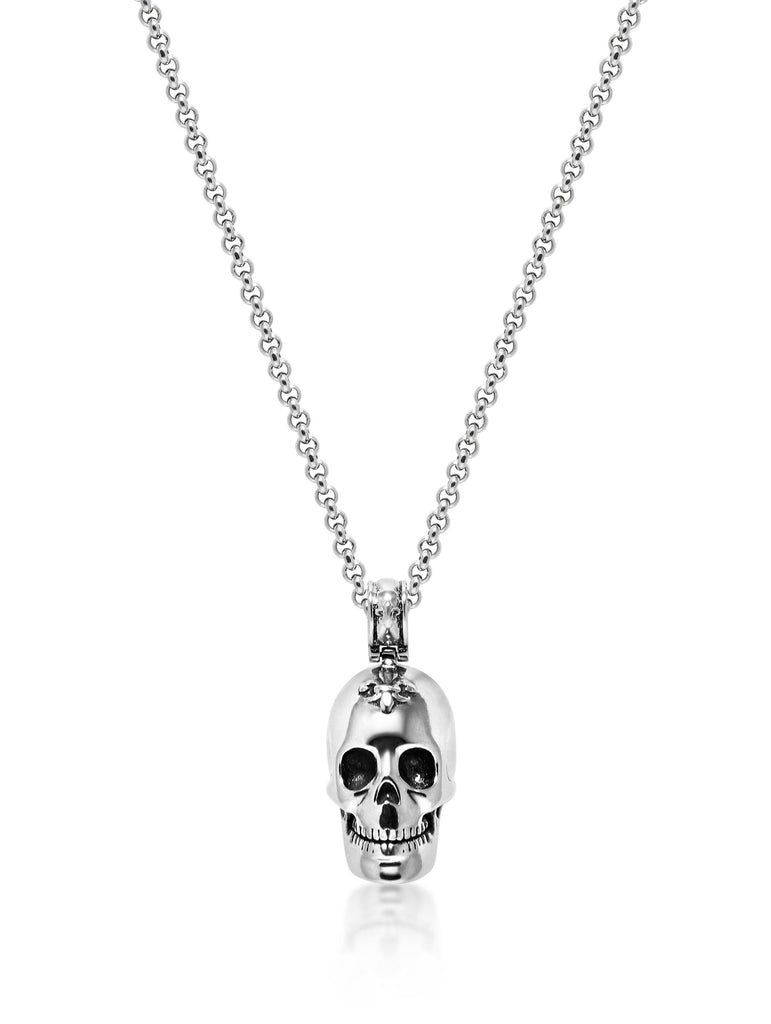 Men's Necklace with Silver Skull