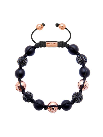 CZ Diamond Black, Matte Onyx & Rose Gold