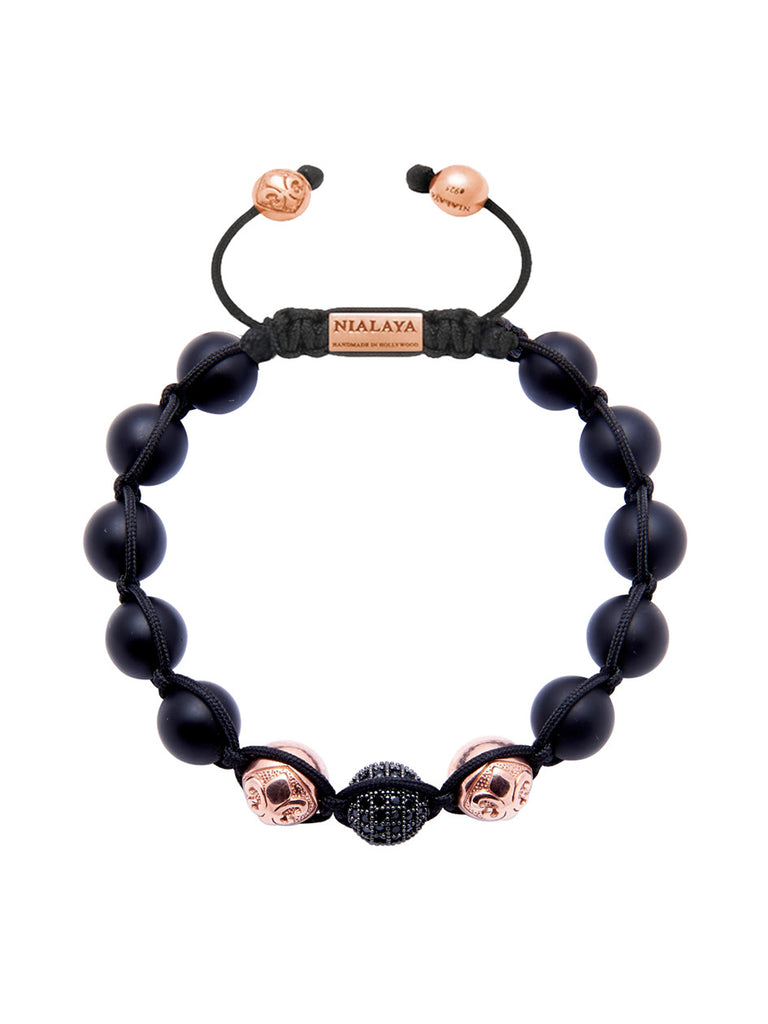 CZ Diamond Black, Matte Onyx & Rose Gold - Nialaya Jewelry  - 1