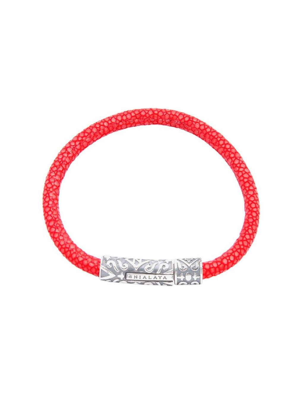 Men's Red Stingray Bracelet with Silver Lock