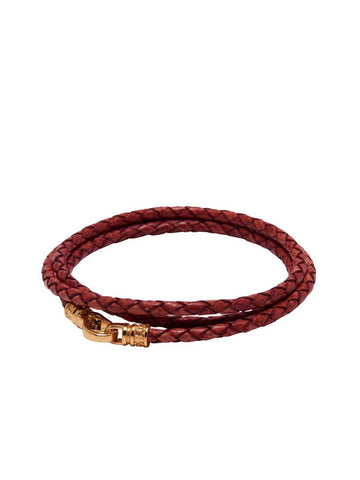 Men's Red Wrap-Around Leather Bracelet