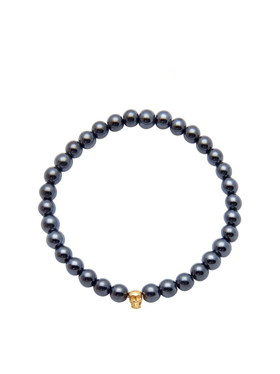 Men's 14K Gold Collection - Hematite with Gold Skull - Nialaya Jewelry  - 1