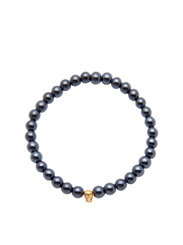 Men's 14K Gold Collection - Hematite with Gold Skull