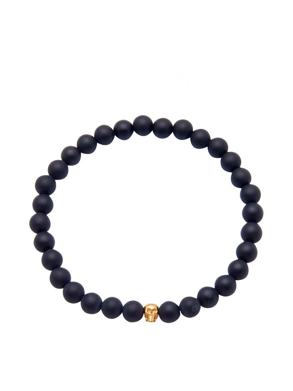 Men's 14K Gold Collection - Matte Onyx with Gold Skull - Nialaya Jewelry  - 1
