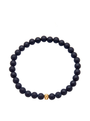 Men's 14K Gold Collection - Matte Onyx with Gold Skull