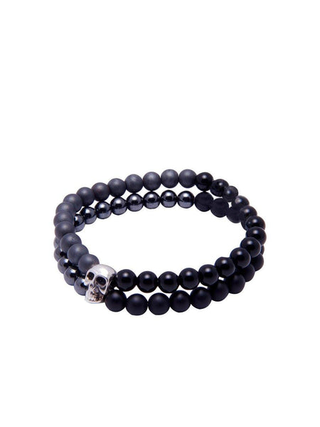 Men's Double-Beaded Skull Bracelet with Agate, Hematite and Matte Onyx - Nialaya Jewelry  - 1