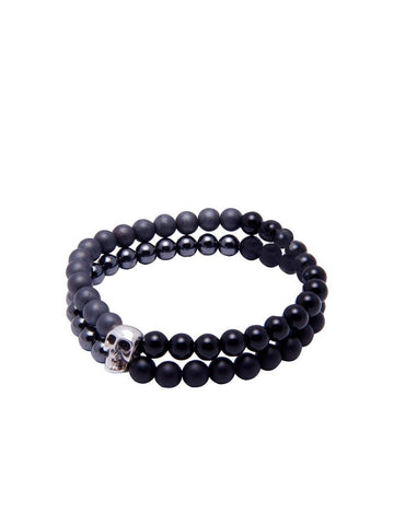 Men's Double-Beaded Skull Bracelet with Agate, Hematite and Matte Onyx