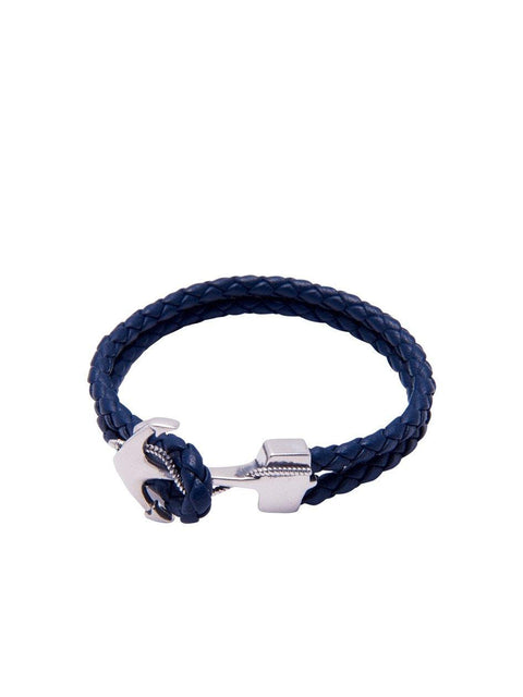 Blue Leather With Silver Anchor Lock - Nialaya Jewelry  - 1