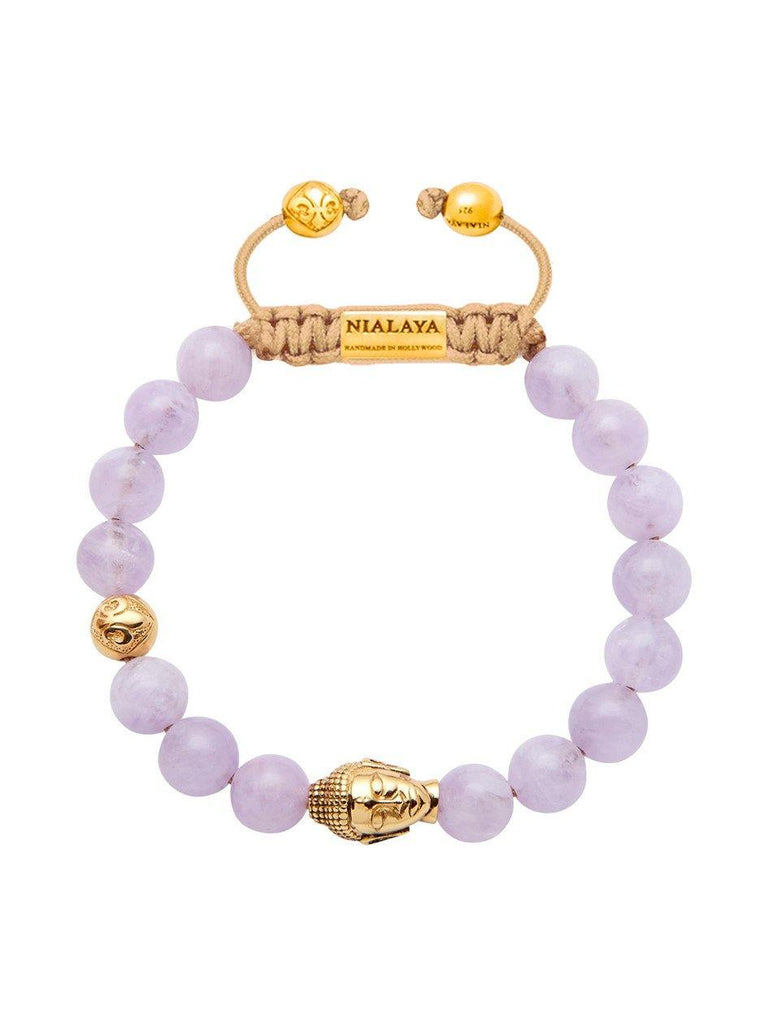 Women's Beaded Bracelet with Amethyst Lavender and Gold Buddha - Nialaya Jewelry  - 1