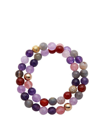 Wrap Bracelet With Amethyst, Cherry Quartz, Smokey Quartz