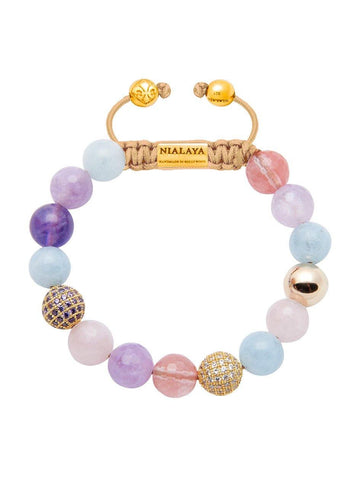 CZ Diamond With Aquamarine, Cherry Quartz, Rose Quartz, & Amethyst Lavender - Nialaya Jewelry