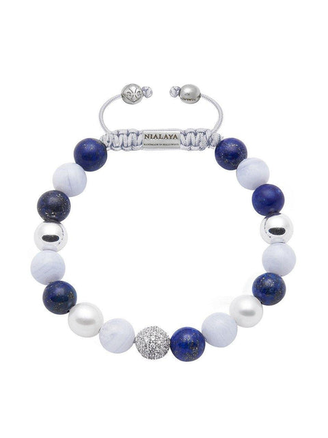 Women's Beaded Bracelet with Blue Lapis, Blue Lace Agate, and White Sea Pearl - Nialaya Jewelry  - 1