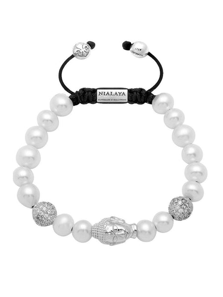 Women's Beaded Bracelet with White Pearl and Silver Buddha - Nialaya Jewelry  - 1