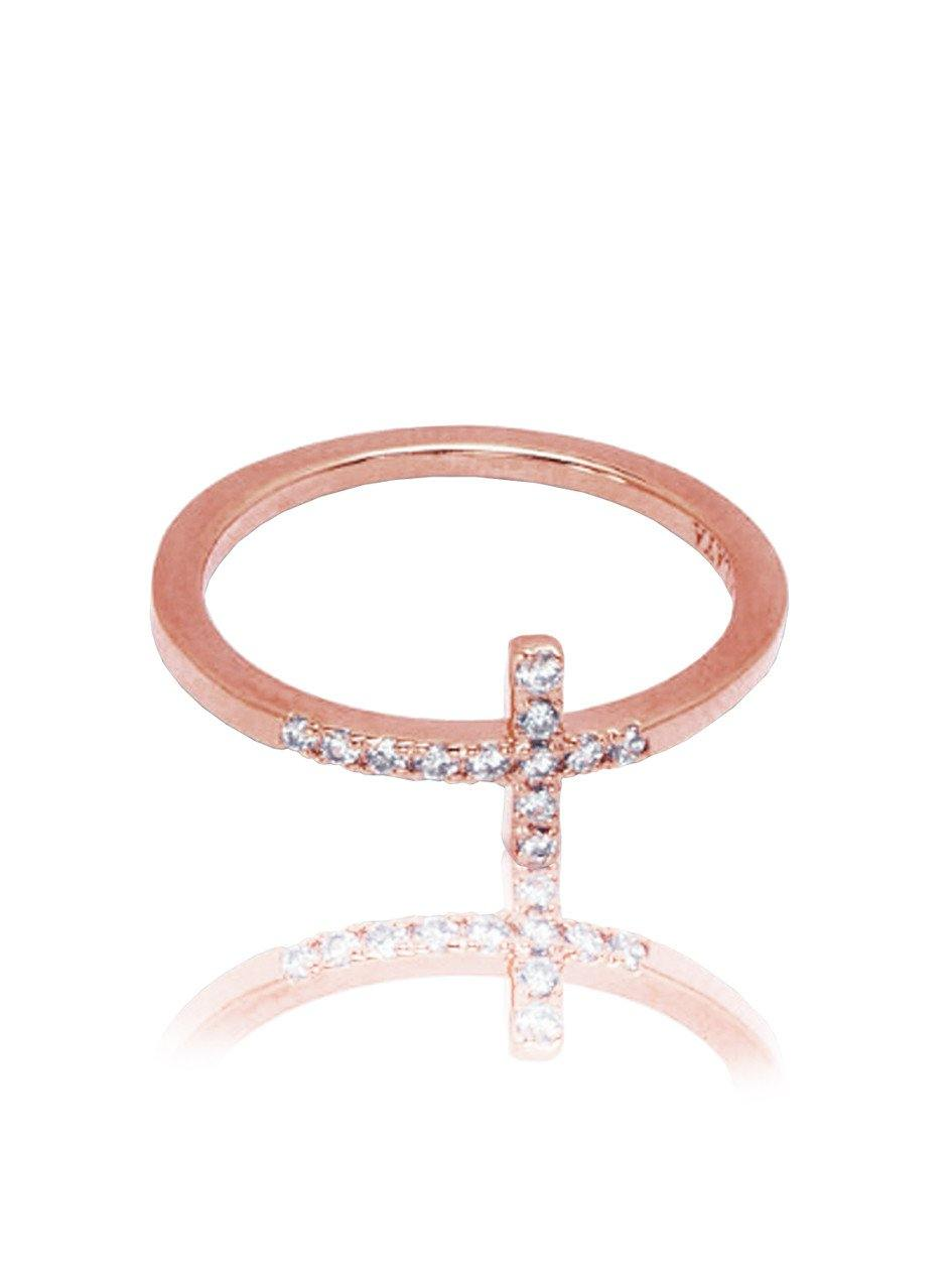 Cross Ring Rose Gold - Nialaya Jewelry