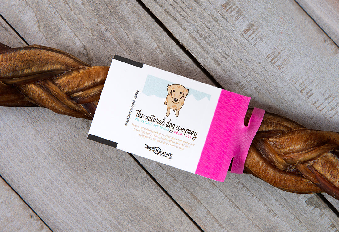 Recyclable elastic dogs for The Natural Dog Company treats