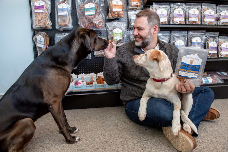 Our founder, Dan Goodnow, with his two dogs, Frida and Poco
