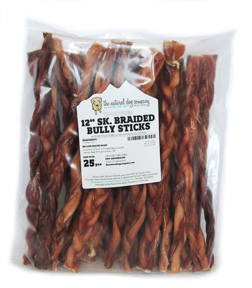 "12"" Skinny Braided Bully Stick Odor Free"