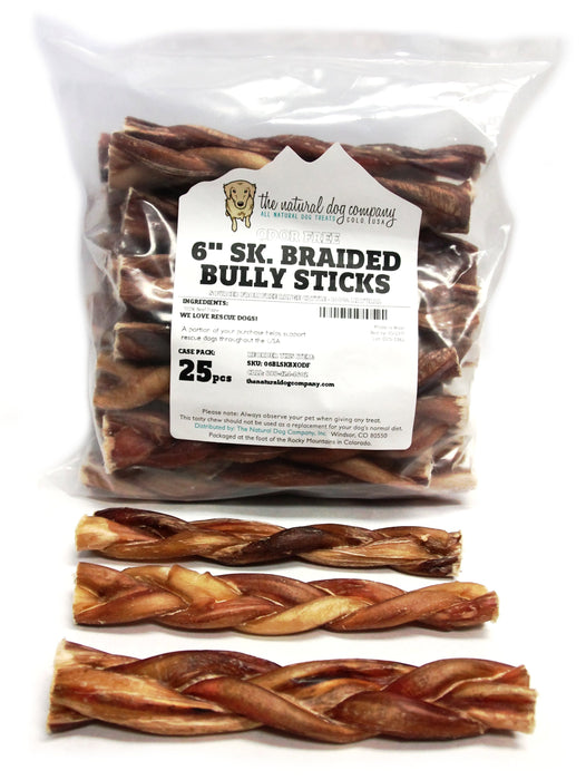 "6"" Skinny Braided Bully Stick - Odor Free (Bulk)"