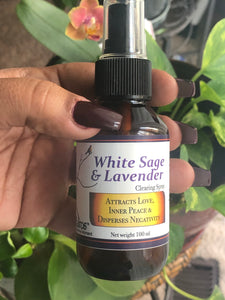 White sage and lavender cleansing spray
