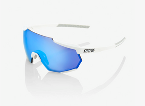 100% Racetrap Sunglasses, Matte White frame - HiPER Blue Multilayer Mirror Lens