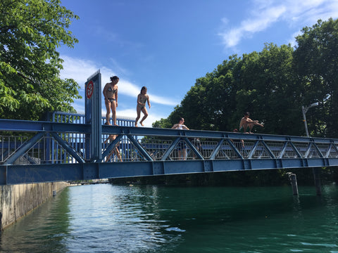 Zurich, Switzerland. July 4th, 2017 Got to jump off this little bridge into the river and was shown how to do it by a 9 year old girl! Wish I had a waterproof bag so I could have put my stuff in the bag and floated down the river like the locals. It was so much fun and a great experience to have been able to do it.