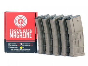 Socom Gear Lancer L5 AWM TAN 190rnd Box Set of 5 Magazine