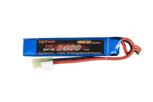 KYPOM 7.4V 1400maH 25C 2S High Discharge Buffer LiPO Battery
