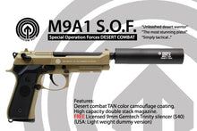 Load image into Gallery viewer, Socom Gear Full Metal SOF M9 Gas Blow Back with Gemtech Trinity Barrel Extension in Tan