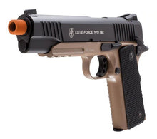 Load image into Gallery viewer, Elite Force 1911 TAC Blowback CO2 Airsoft Pistol, Black/Tan, Full Metal