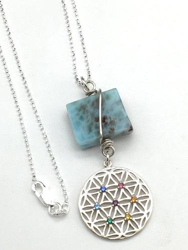 Sterling Silver Chakra and Lamimar Necklace