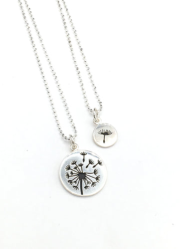 Dandelion and Fluff Necklace Set. Mother/Daughter