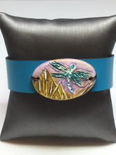 Load image into Gallery viewer, Leather and Dragonfly Polymer Bracelet
