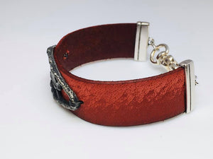 Leather and Pewter Heart Bracelet